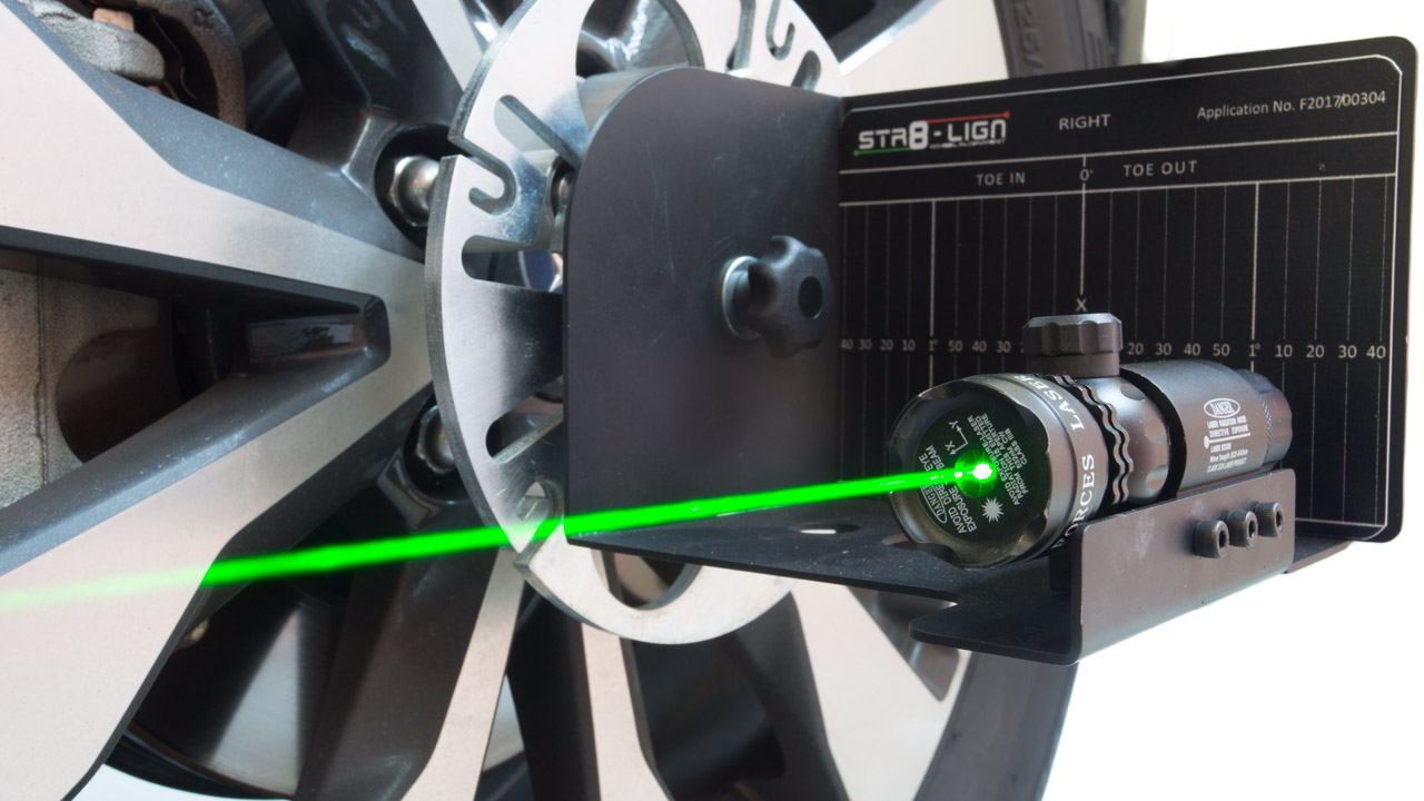 STR8-LIGN set up on a caravan for caravan and trailer axle and wheel alignment needs.