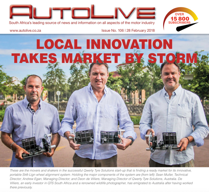 Qwerty Tyre Solutions shareholders published on the front page of Autolive Magazine showing their Portable Wheel Alignment System